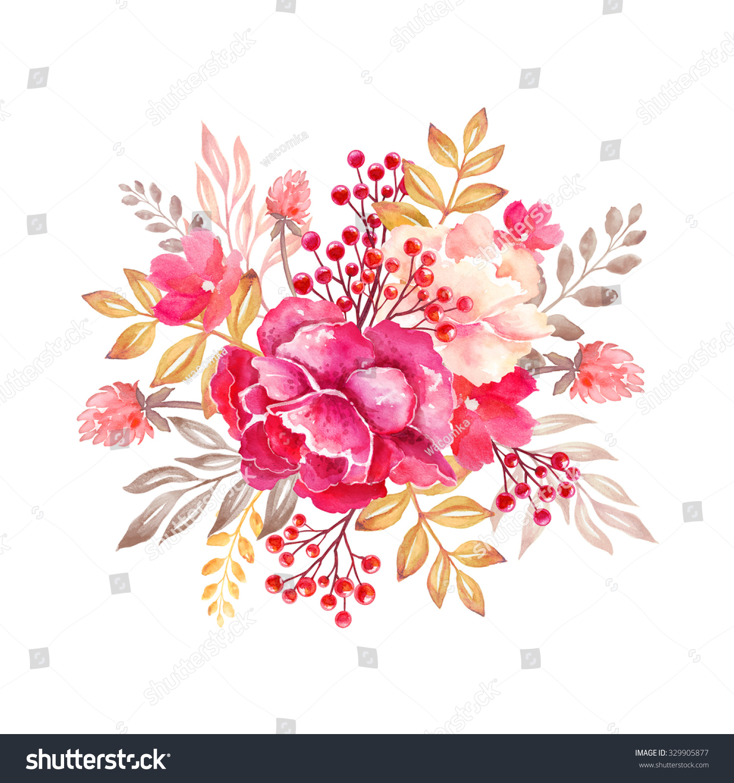 Floral arrangement round bouquet flowers design stock illustration floral arrangement round bouquet flowers design elements watercolor clip art isolated on white izmirmasajfo