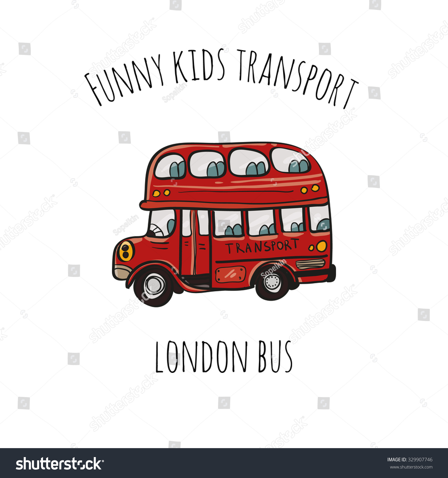 Funny Kids Transport London Bus Cute Stock Vector