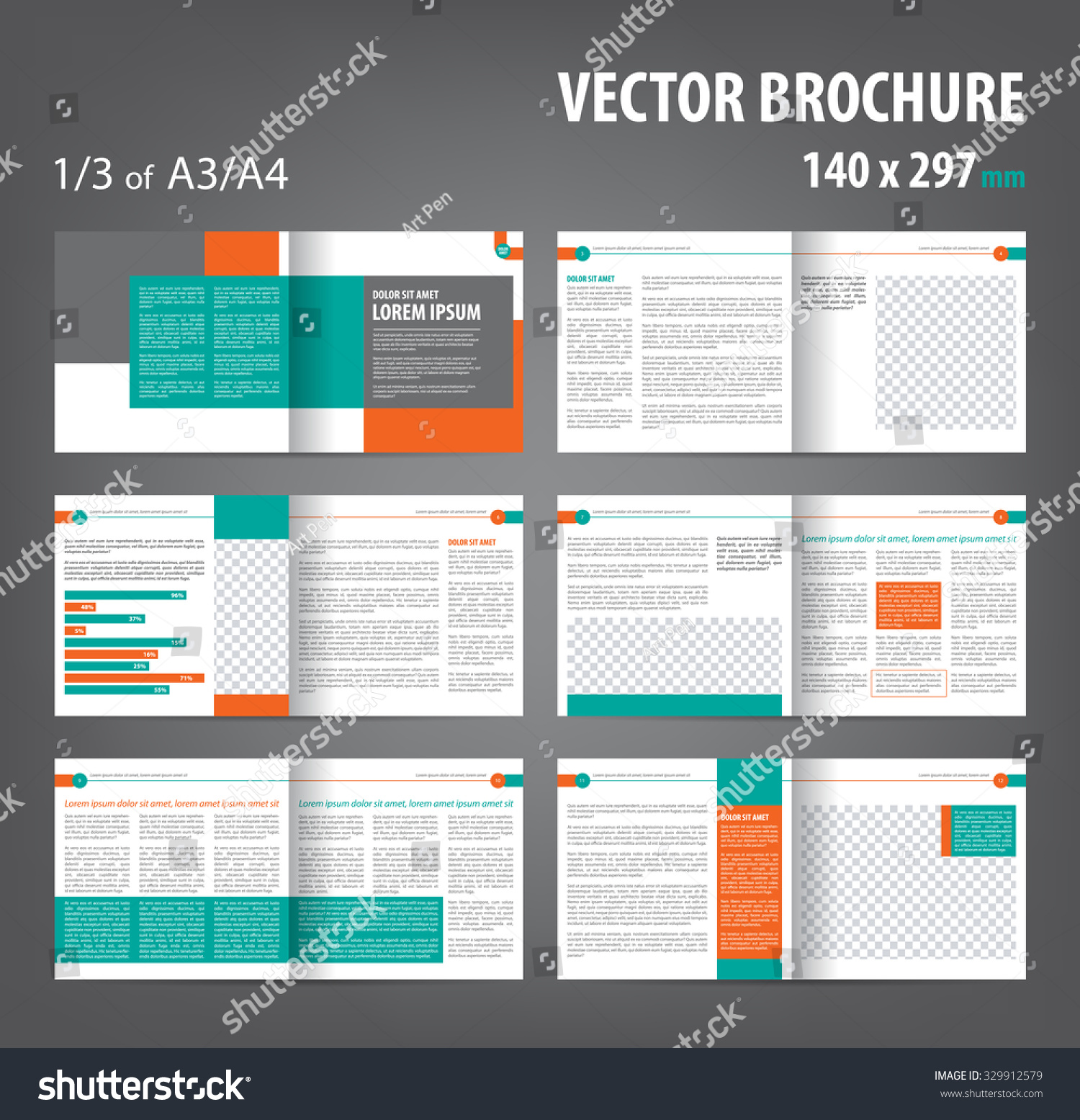 Royalty Free Vector Empty Bi Fold Brochure Print 329912579 Stock