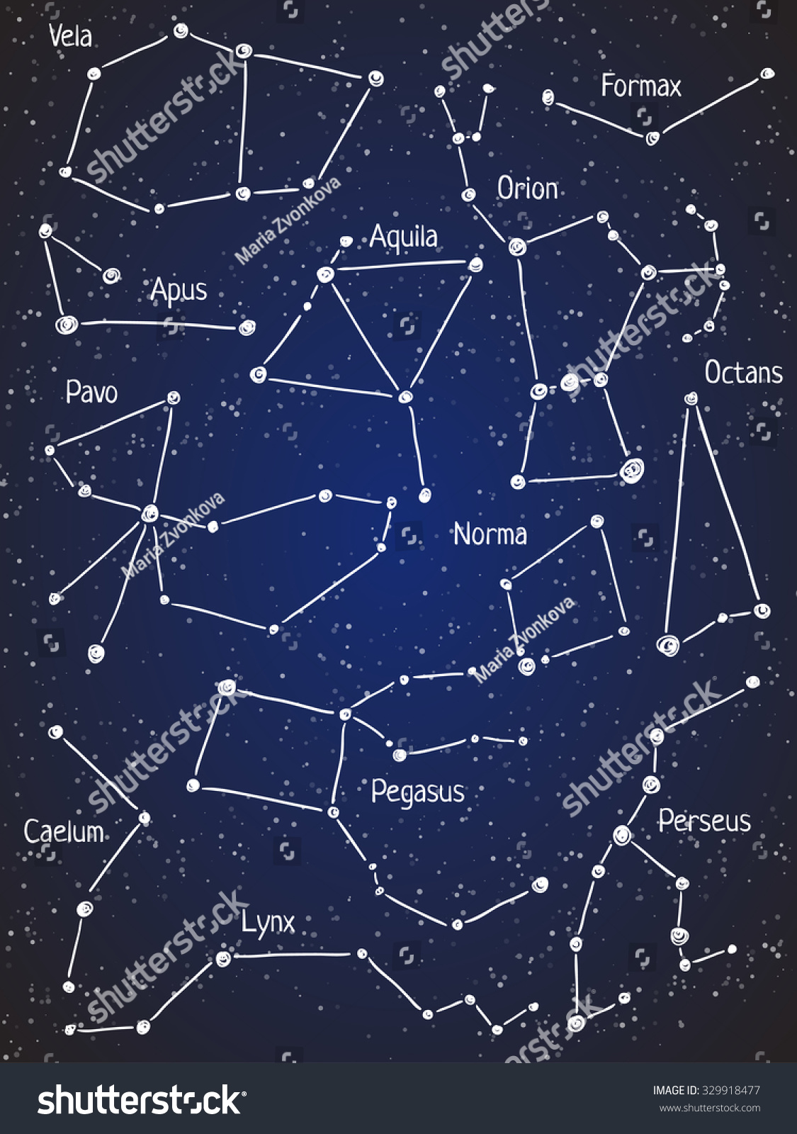 Set Star Constellations Vector Space Astronomy Stock