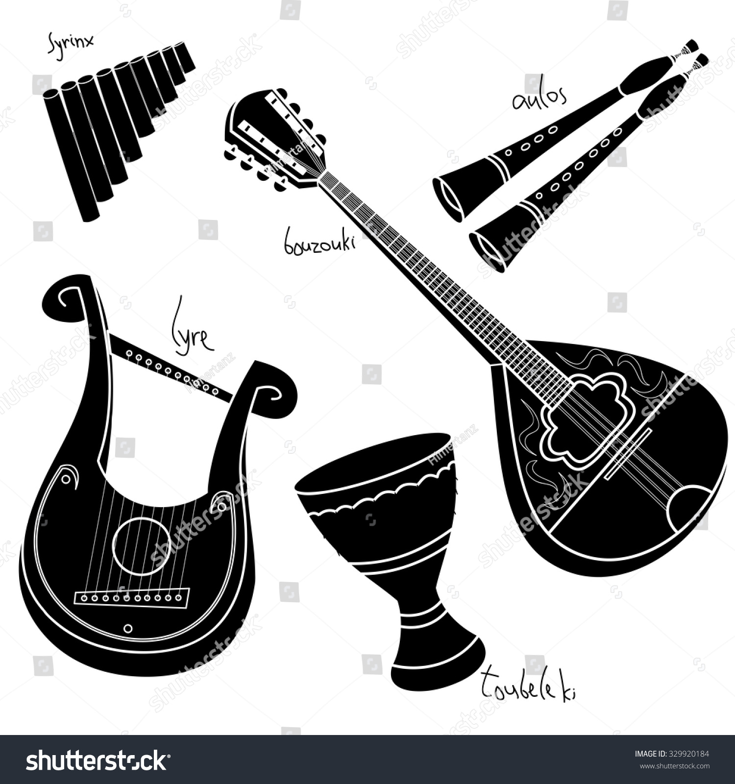 Set Hand Drawn Traditional Greek Musical Stock Vector