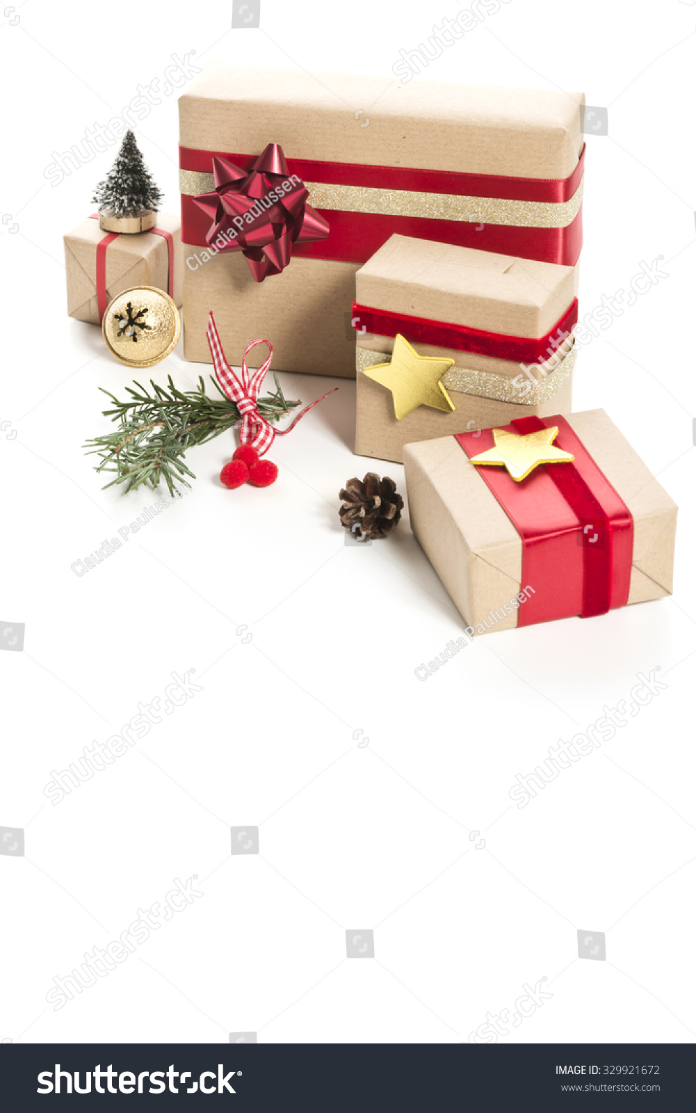 Christmas Presents Decoration On White Background Stock Photo (Edit ...