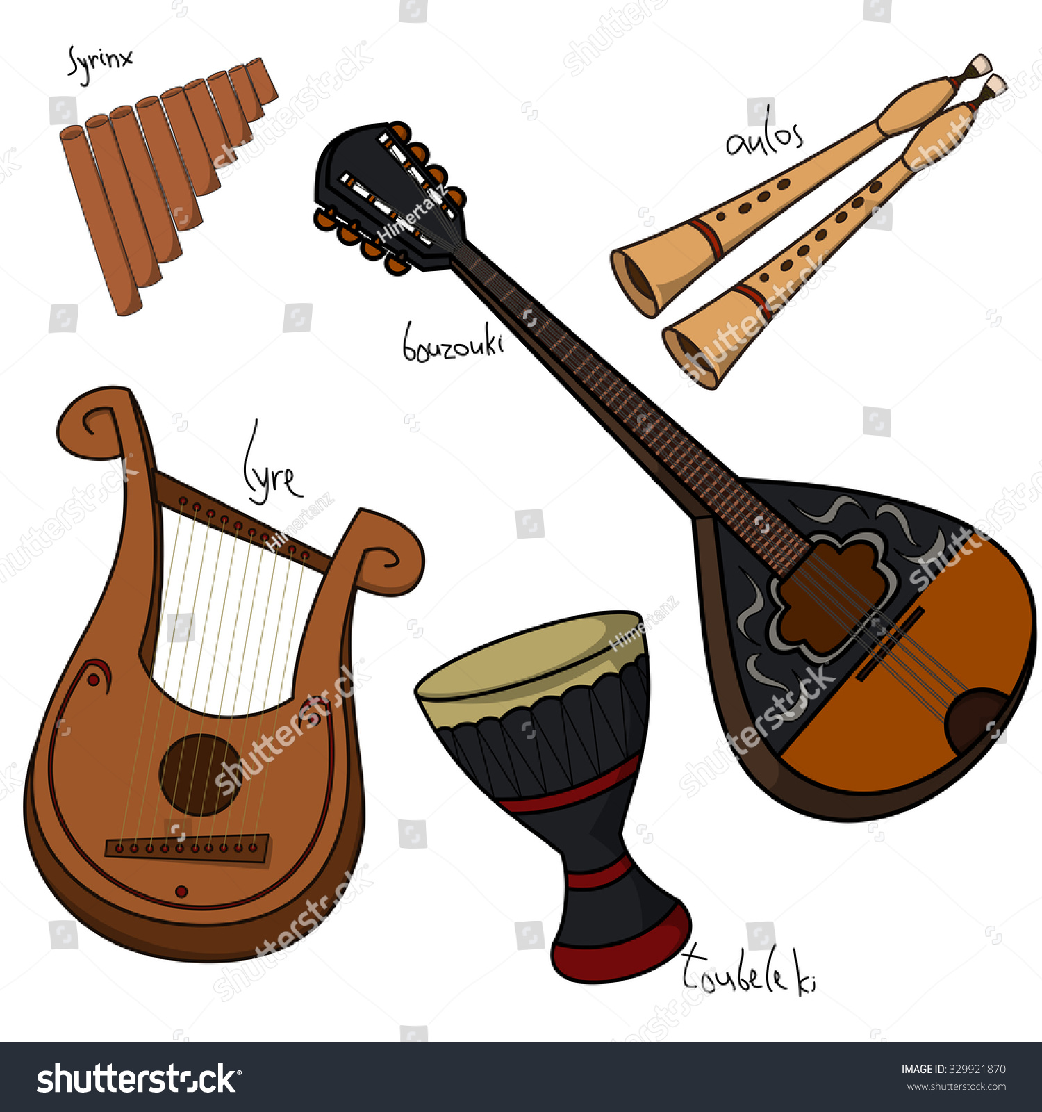 Set Hand Drawn Traditional Greek Musical Stock Vector 329921870 ...