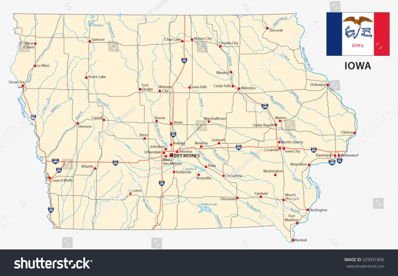 Iowa Road Map Flag Stock Vector Shutterstock - Iowa road map
