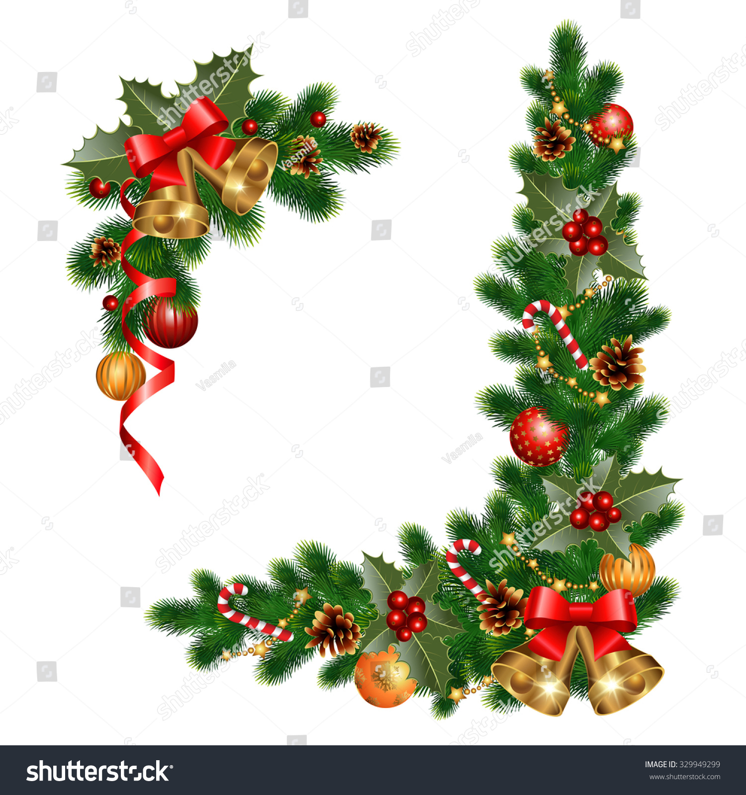 Christmas Decorations With Fir Tree And Decorative Elements Vector  Illustration