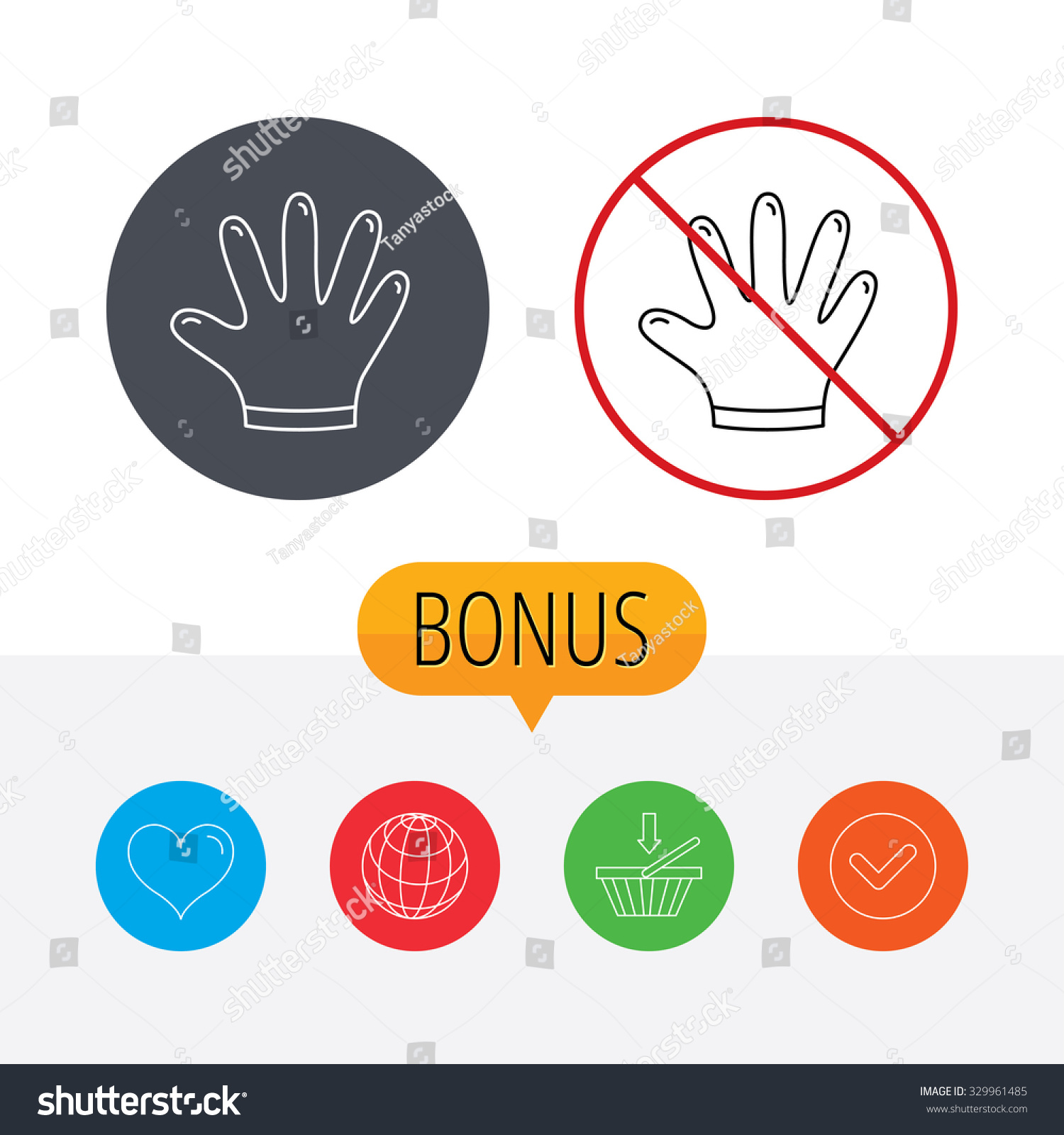 Rubber Gloves Icon Latex Hand Protection Stock Vector 329961485