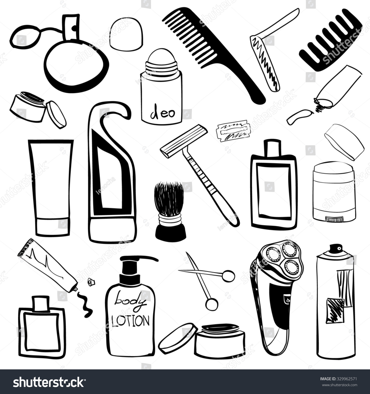 cosmetic coloring pages - royalty free man s cosmetics and beauty products