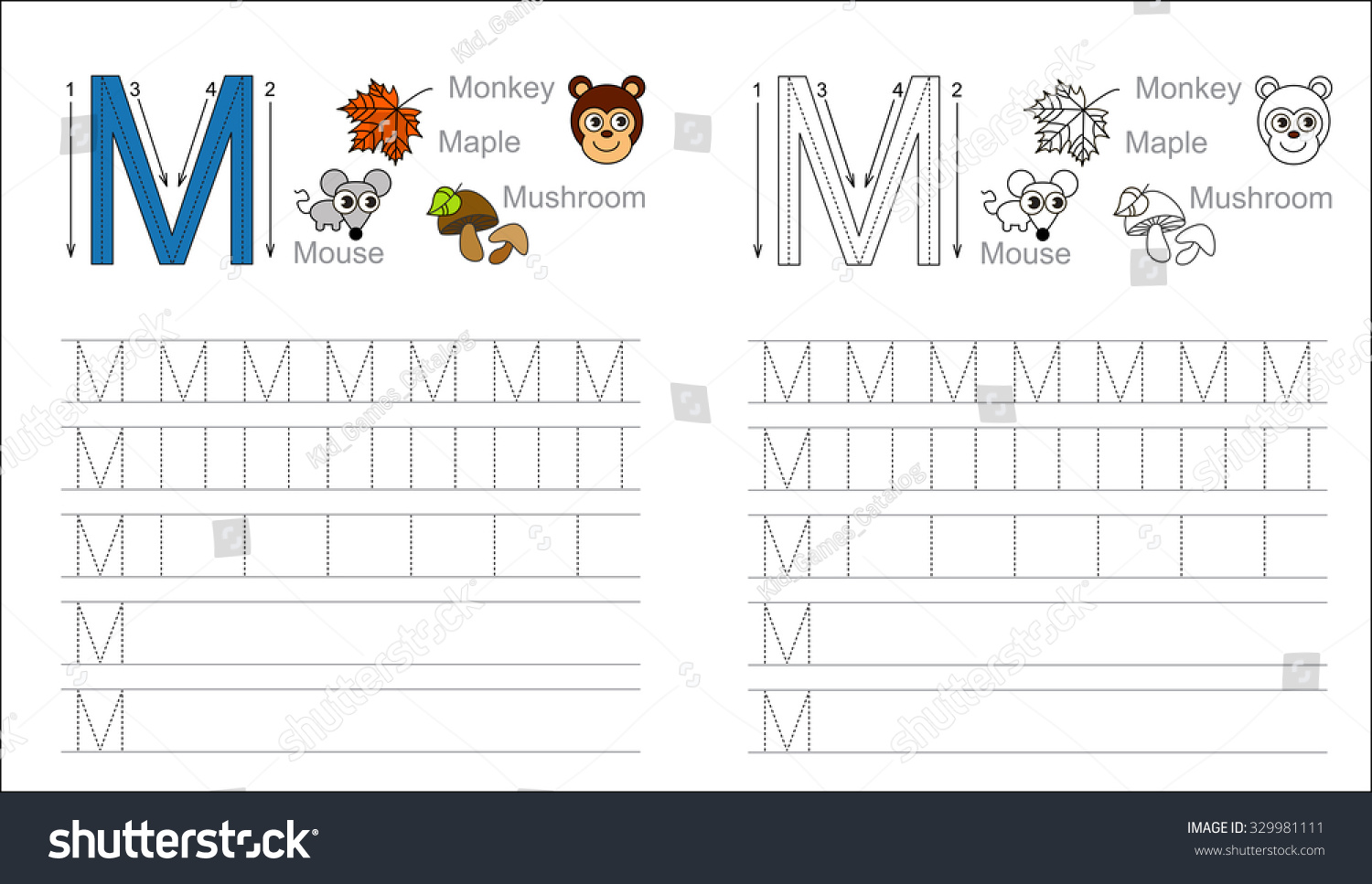 Vector exercise illustrated alphabet. Learn handwriting. Tracing worksheet  for letter M. Page to