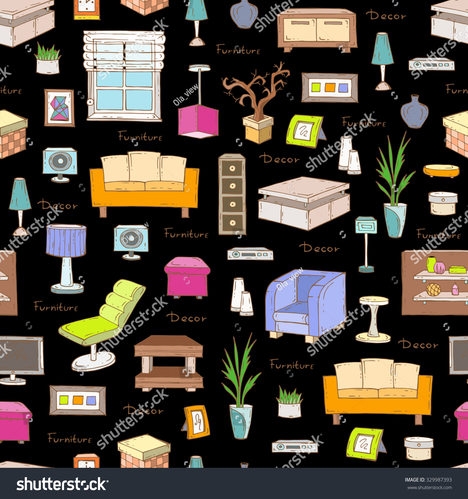 Vector Seamless Pattern Of Hand Drawn Furniture And Decorative Elements On Black Color Interior Design
