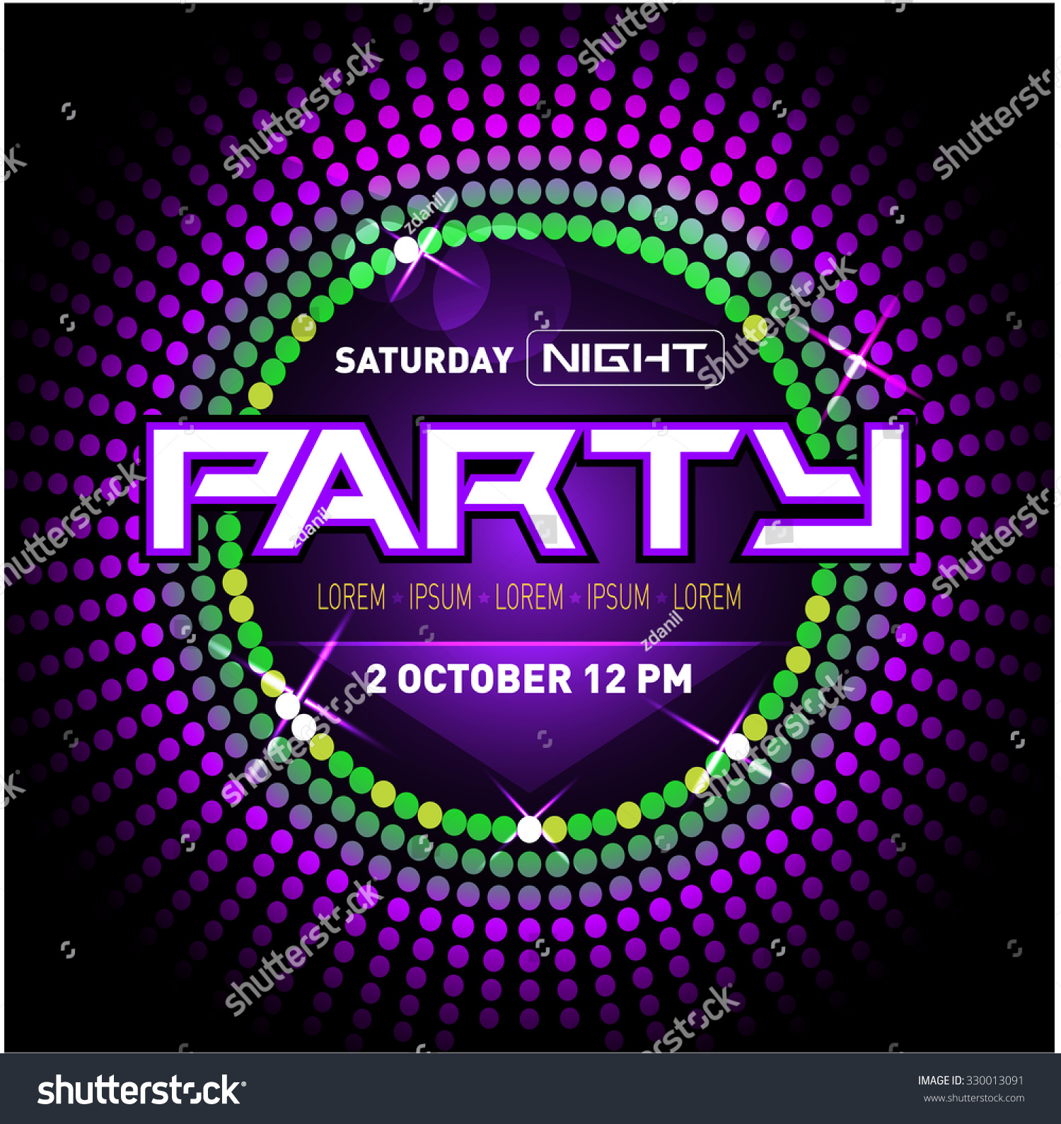 Party Disco Club Flyer Template Your Stock Vector 330013091 ...