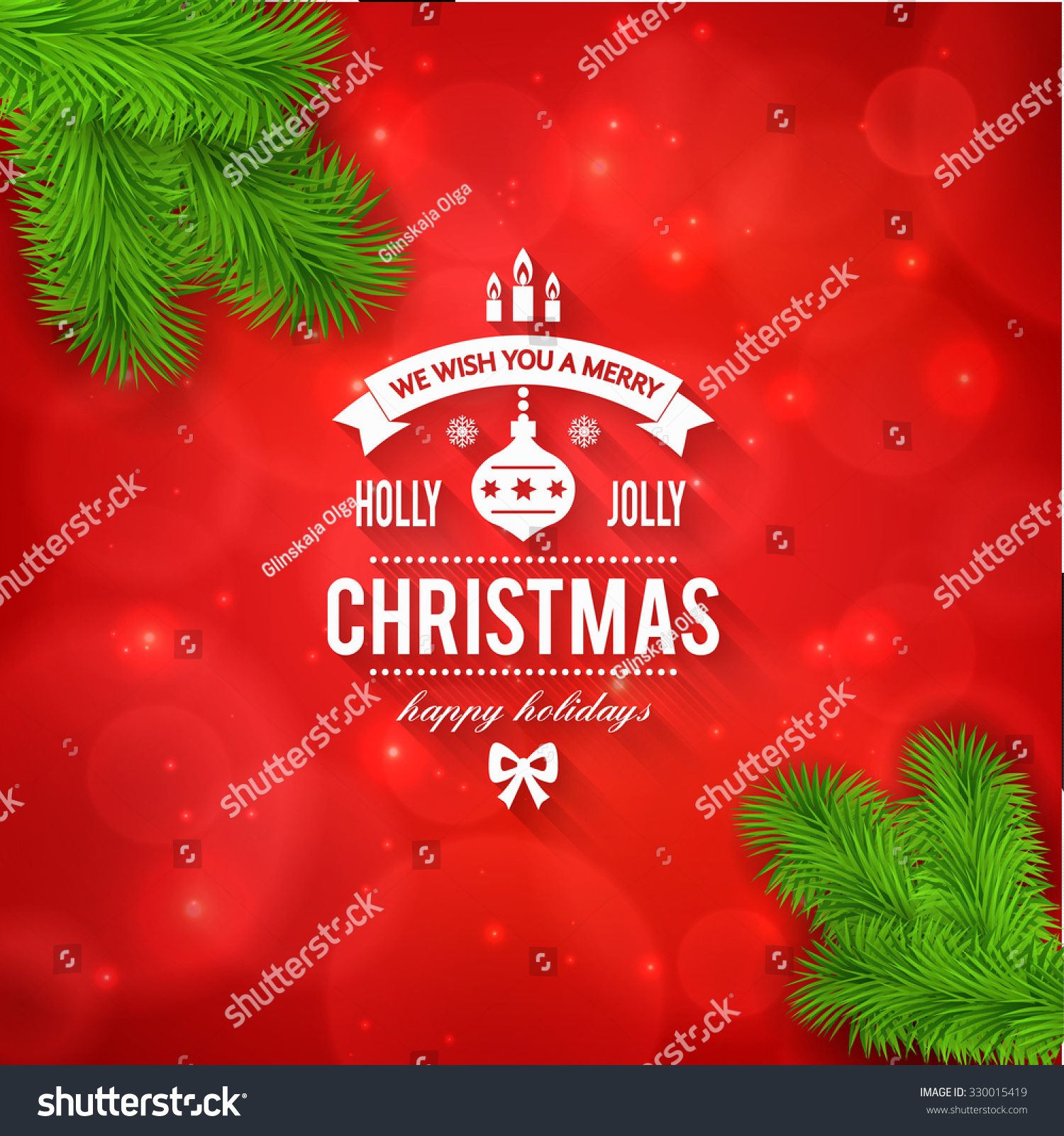 Merry Christmas Greetings Logo On Colorful Stock Vector 2018