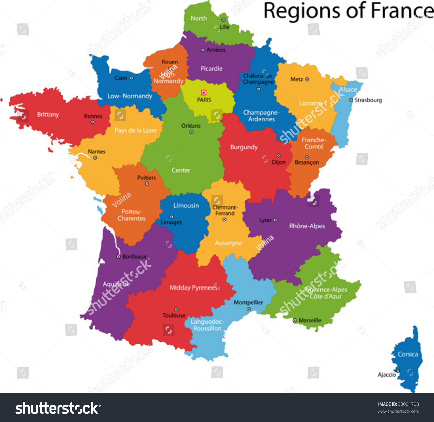 colorful france map regions main cities stock vector 33001708