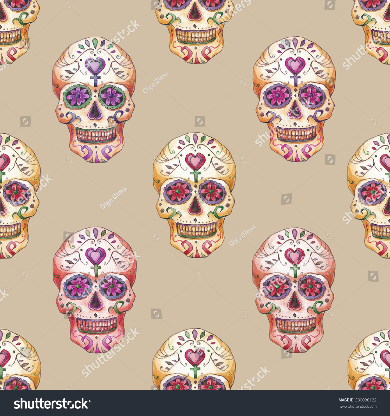 Day The Dead Skull Seamless on background