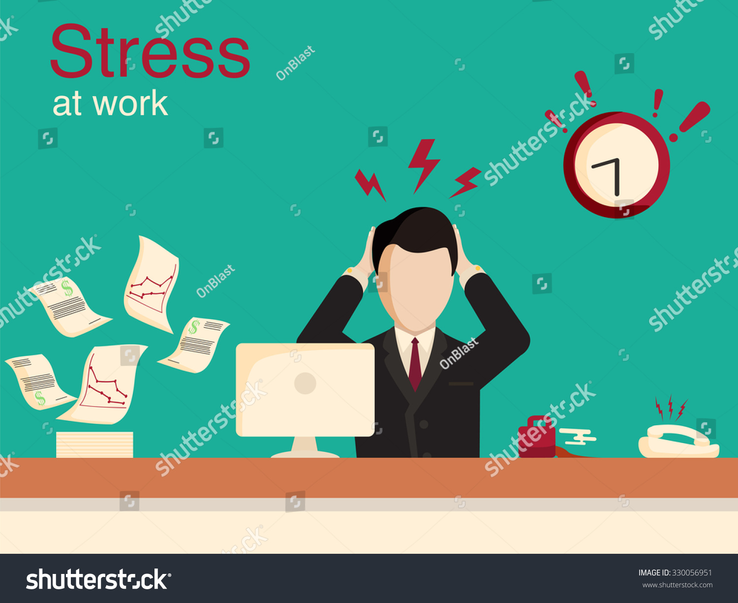 new job stress work info graphic stock vector shutterstock new job stress work info graphic stress on work office life and business man