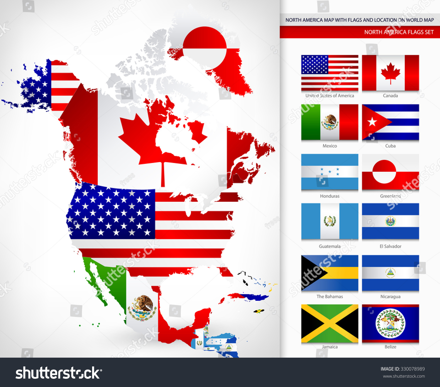 North america map flags location on vectores en stock 330078989 north america map flags location on vectores en stock 330078989 shutterstock gumiabroncs Images