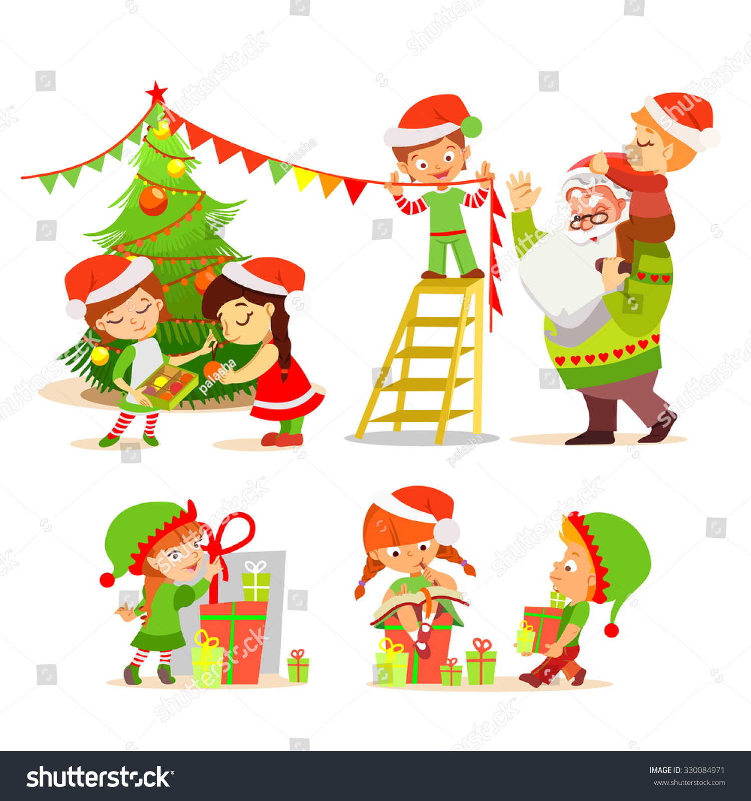 stock vector big set of cute cartoon christmas elves with santa decorating christmas tree and making christmas 330084971