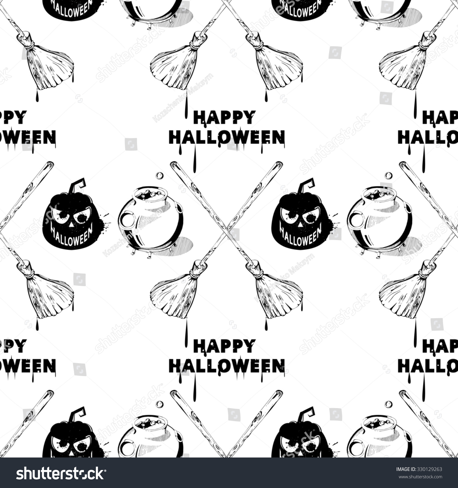 Happy Halloween Clipart Image. Seamless Halloween Pattern. Seamless Pattern  With Pumpkins, Jack