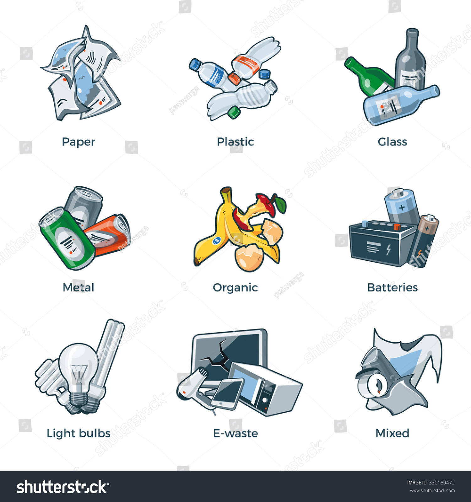 Vector E Sanitary Service : Illustration isolated trash categories organic paper stock