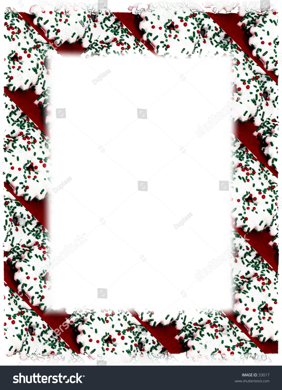 White Iced Christmas Cookie Frame On Stock Photo (Edit Now) 33017 ...