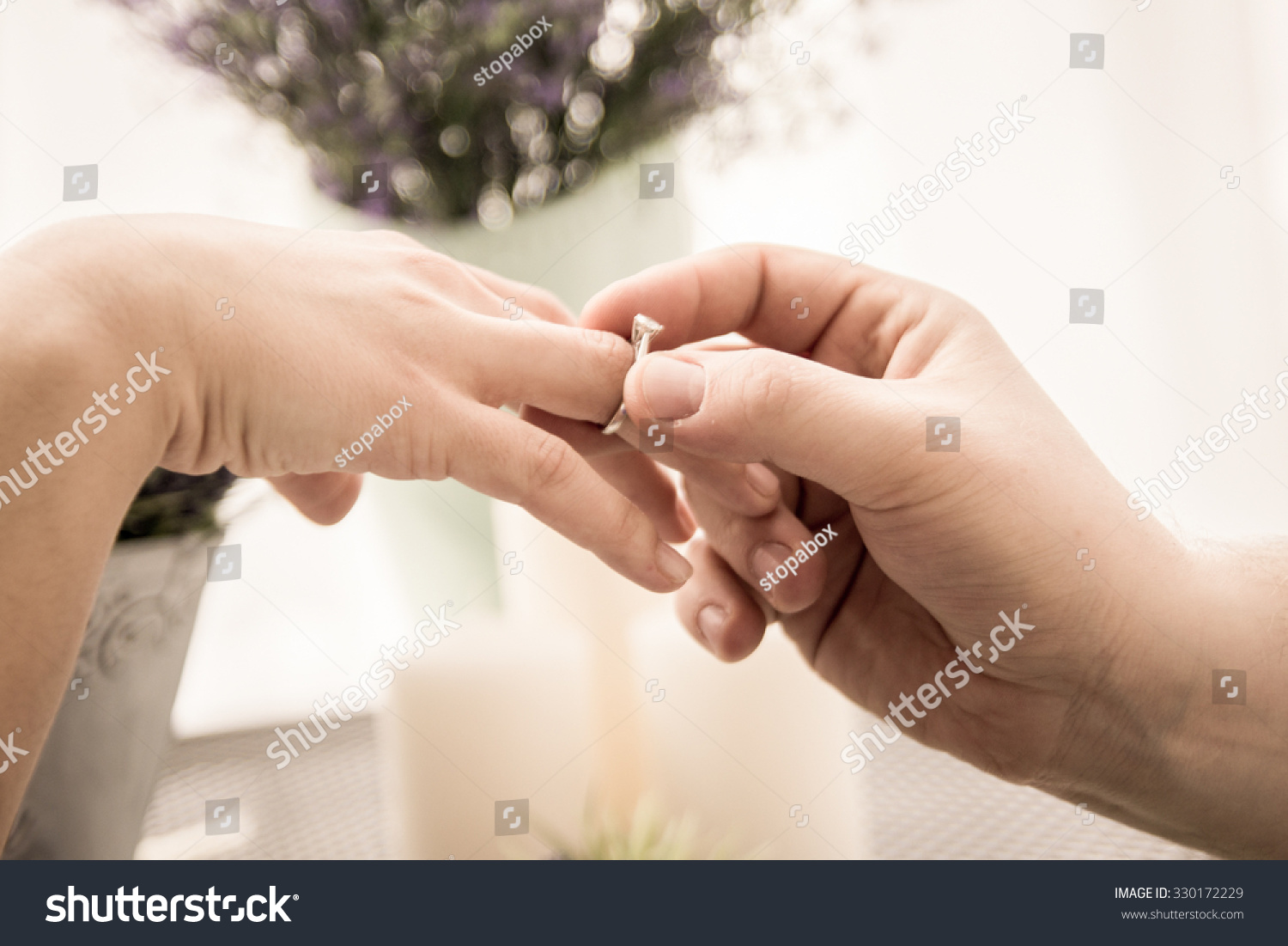 Men Wear Ring On Hand Girl Stock Photo 330172229 - Shutterstock