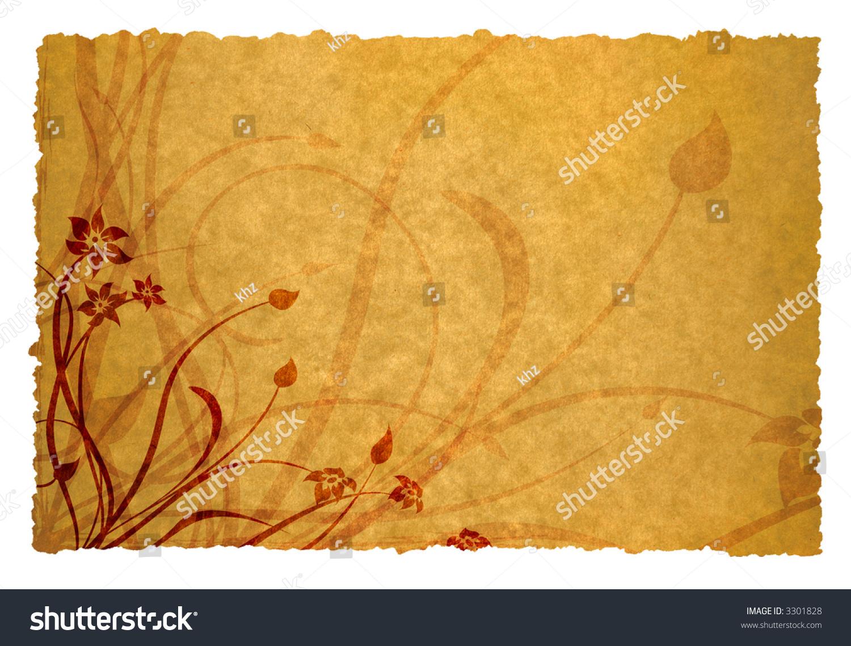 floral design on old parchment background space for messages ez