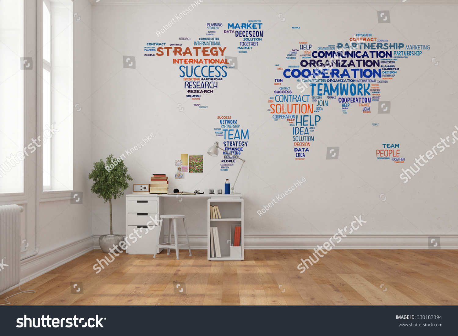 Teamwork concept on world map on stock illustration 330187394 teamwork concept on world map on a wall in home office over desk 3d rendering gumiabroncs Image collections