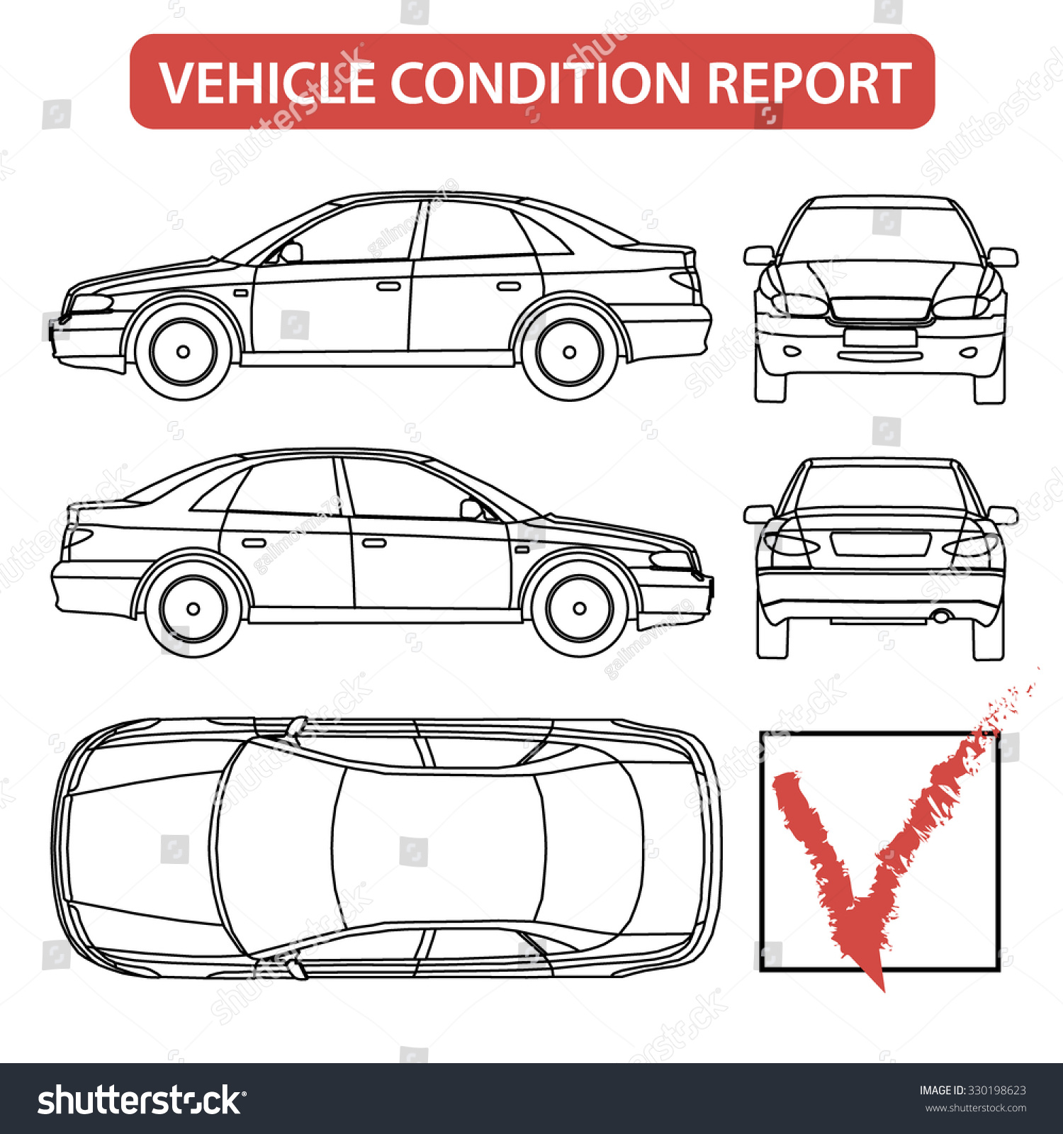 Car condition form vehicle checklist auto stock vector for Van checklist template
