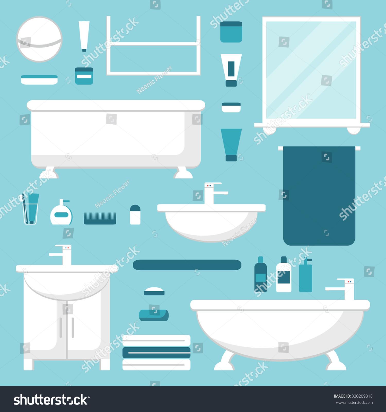 Bathroom Bathroom Elements Set Isolated Bathroom Stock Illustration ...