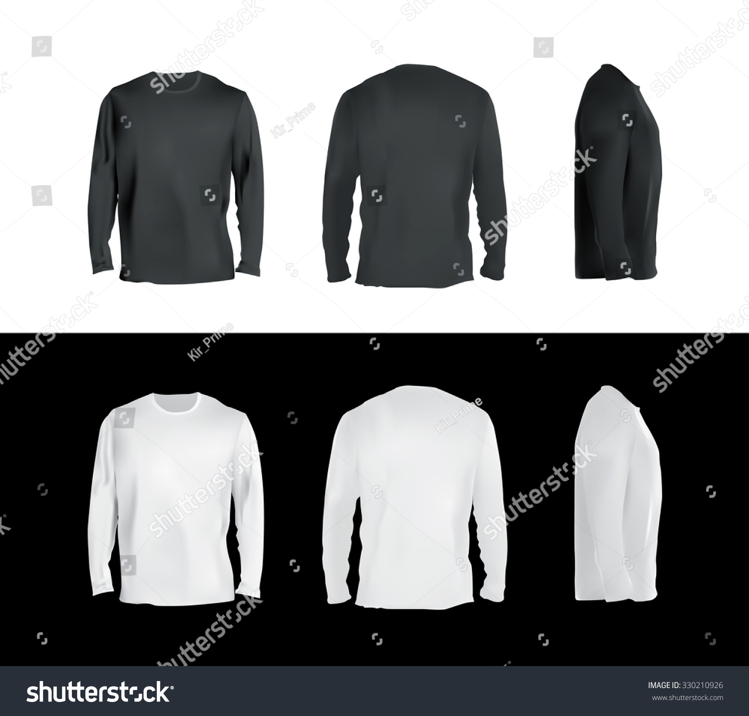 Long Sleeved Tshirt Templates Collection Front Stock Vector ...