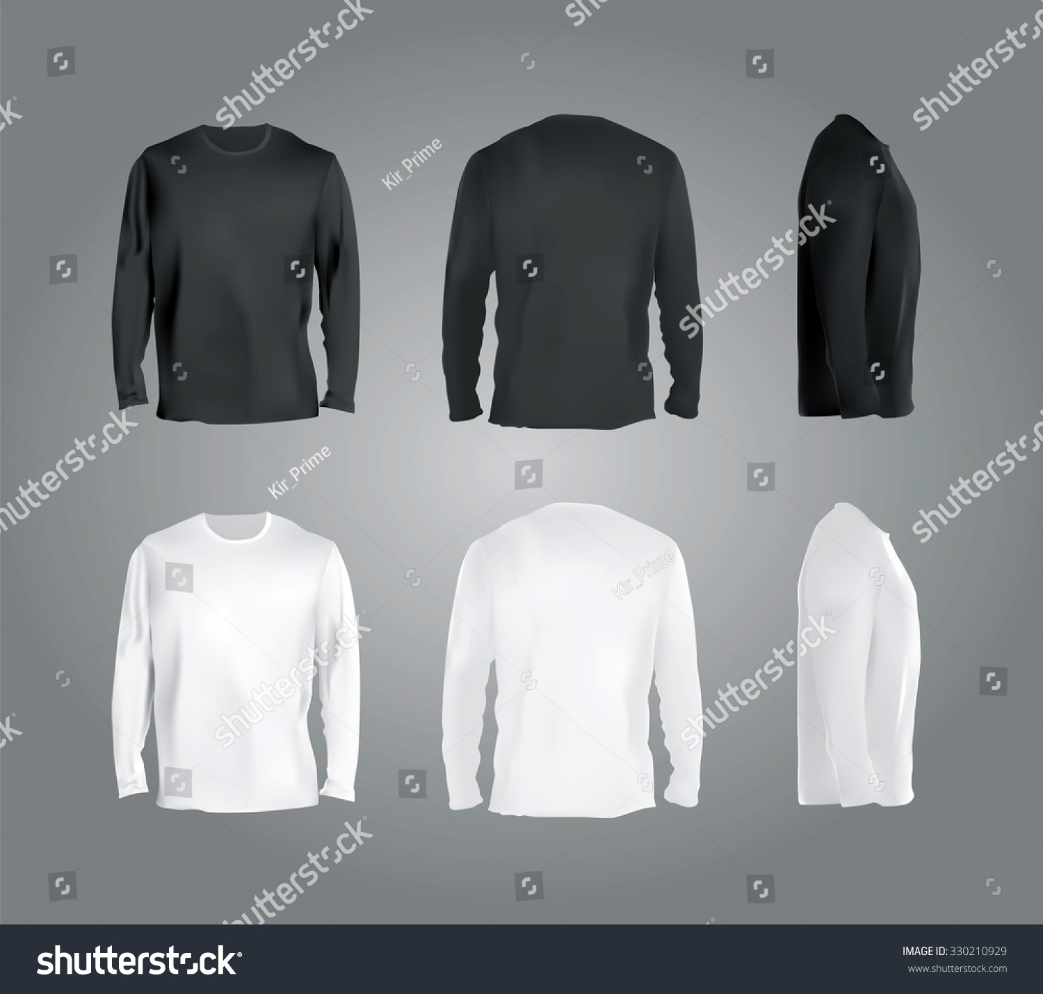 White t shirt front and back template - Long Sleeved T Shirt Templates Collection Front Back Side Views Black