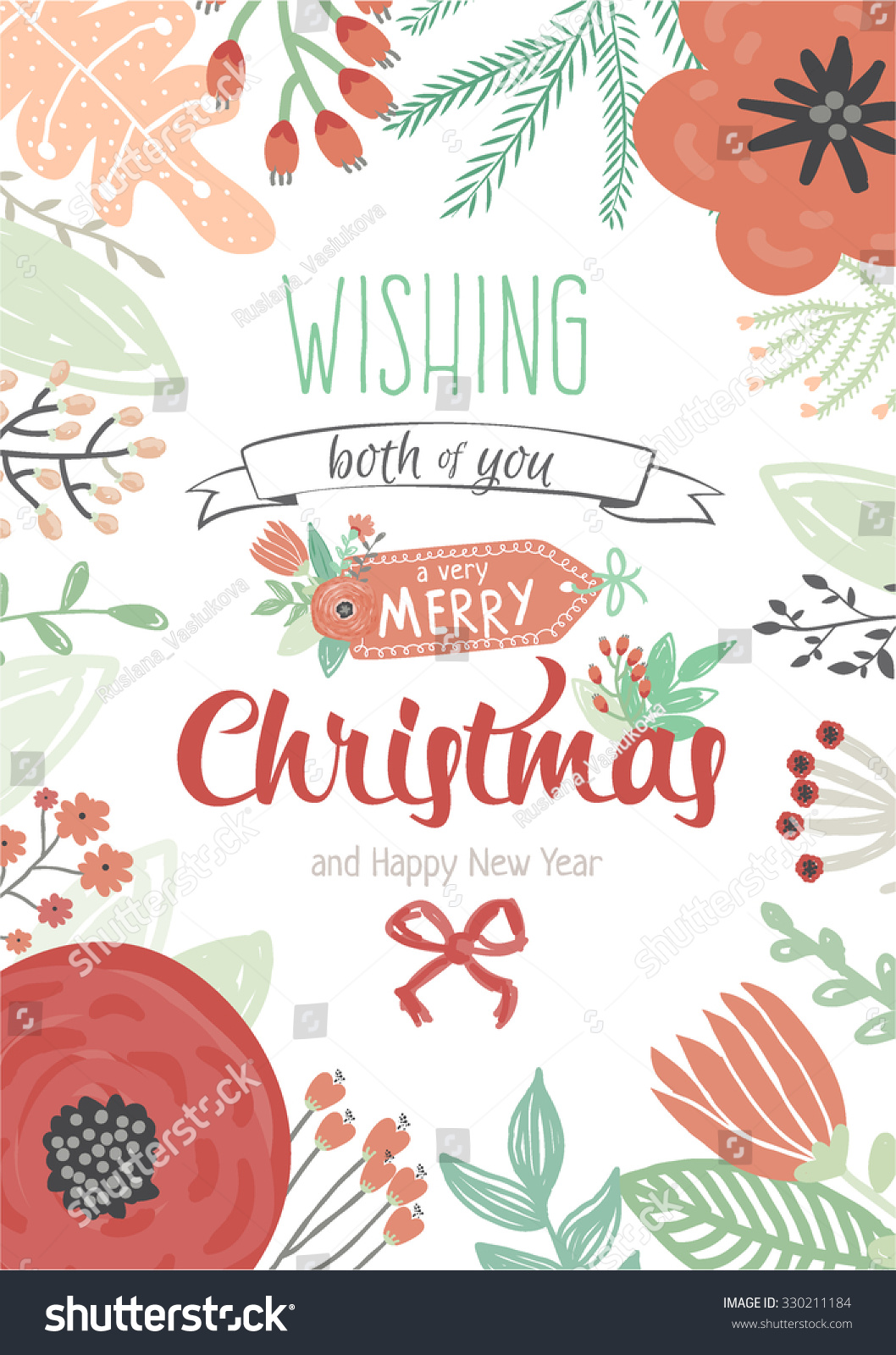 Vintage Merry Christmas Happy New Year Stock Vector 330211184