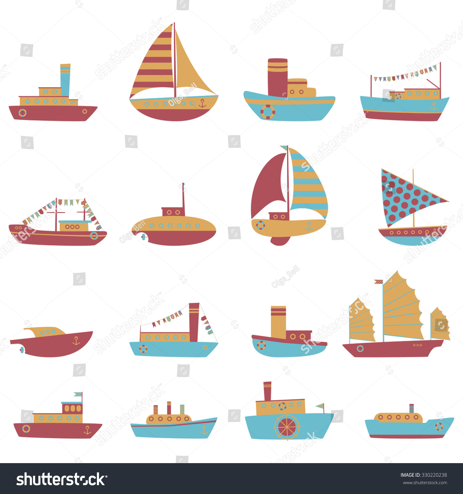 Vector Color Set Of Ship And Boat For Children Illustration Cute Decorative Icon Kids