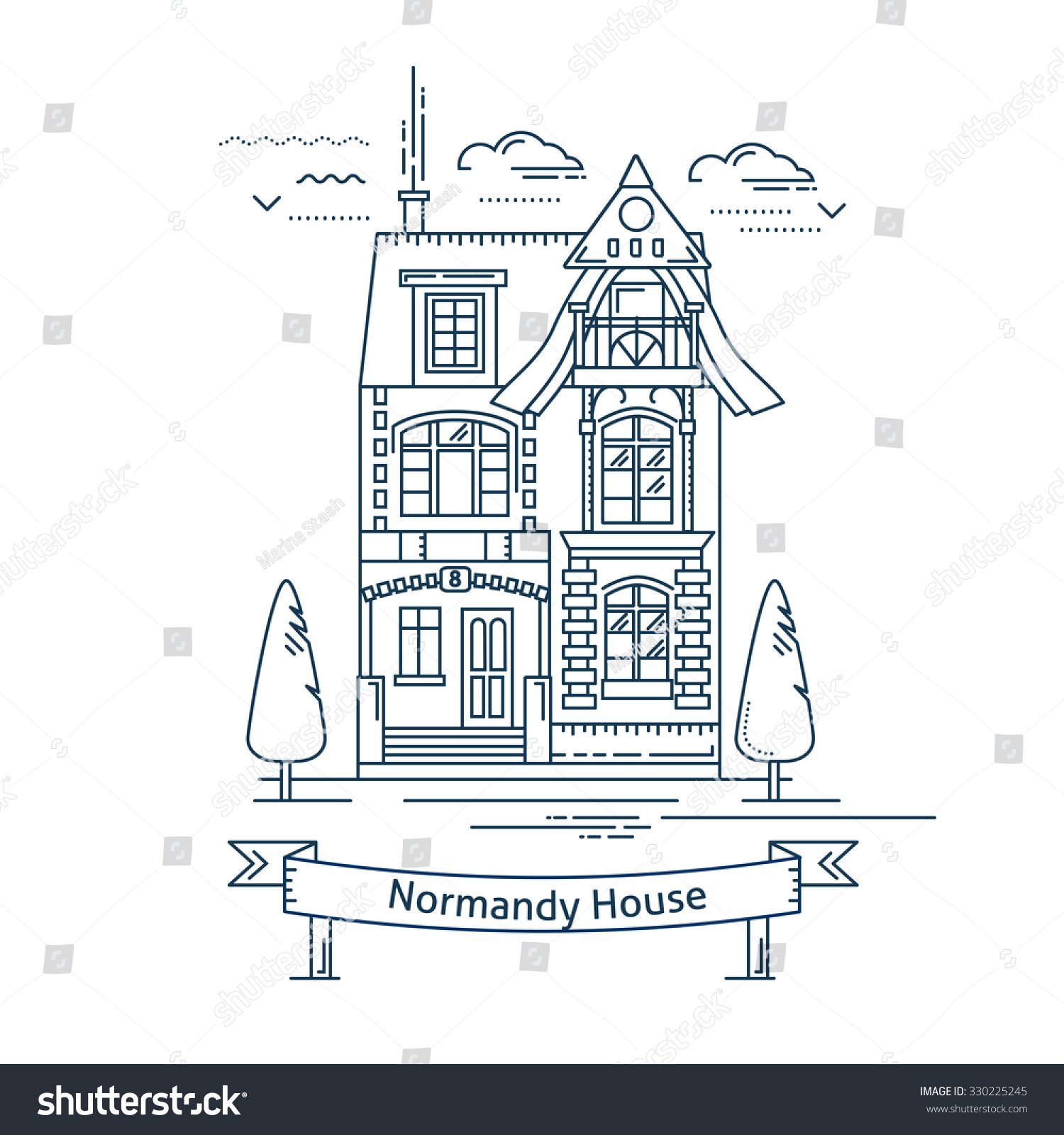 Coloring book real estate - Real Estate Market Concept Flat Line Vector Architecture Design Outlined Stroke Icon Victorian Normandy