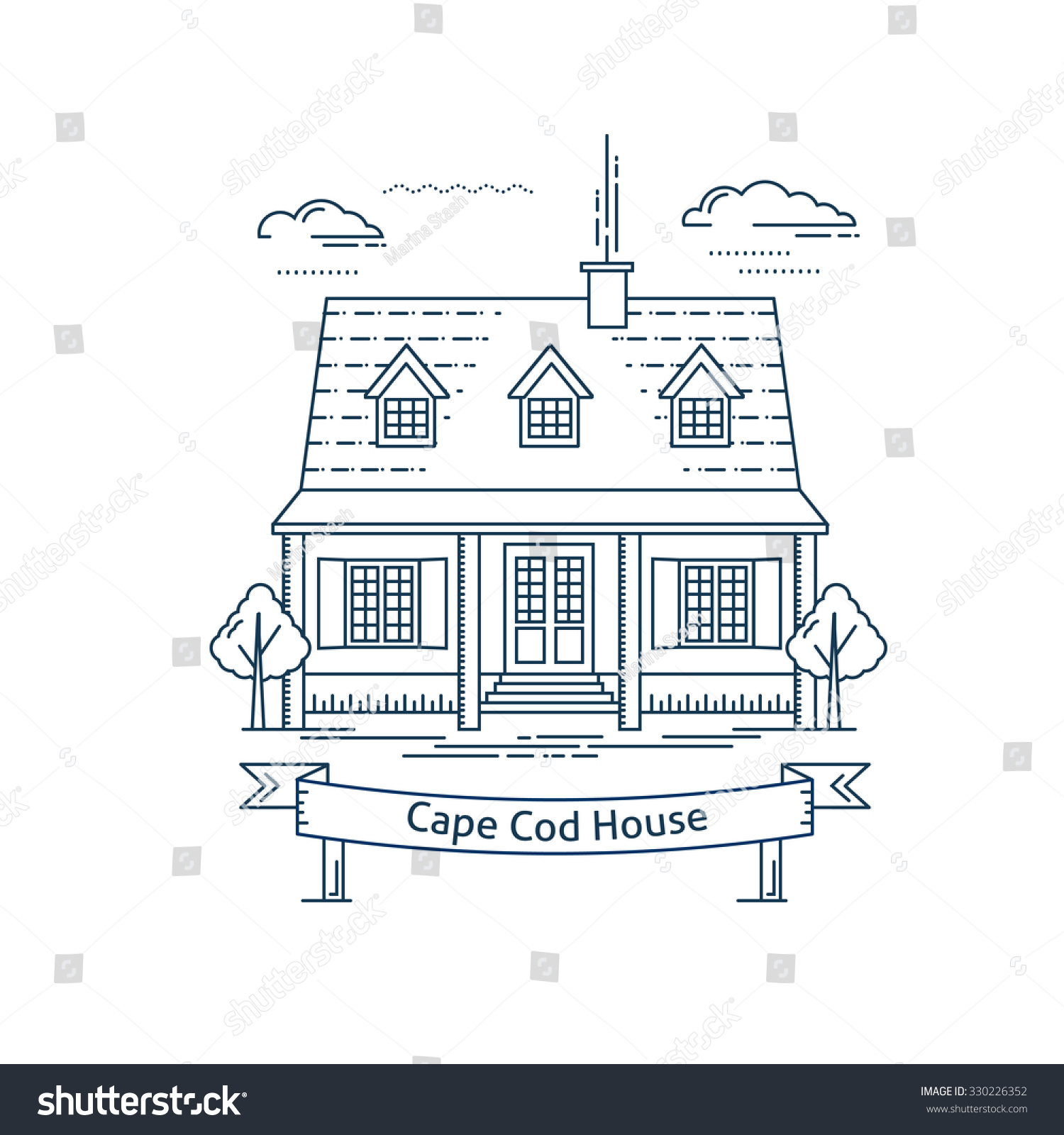 Cape Cod Web Design: Real Estate Market Concept Flat Line Vector Architecture