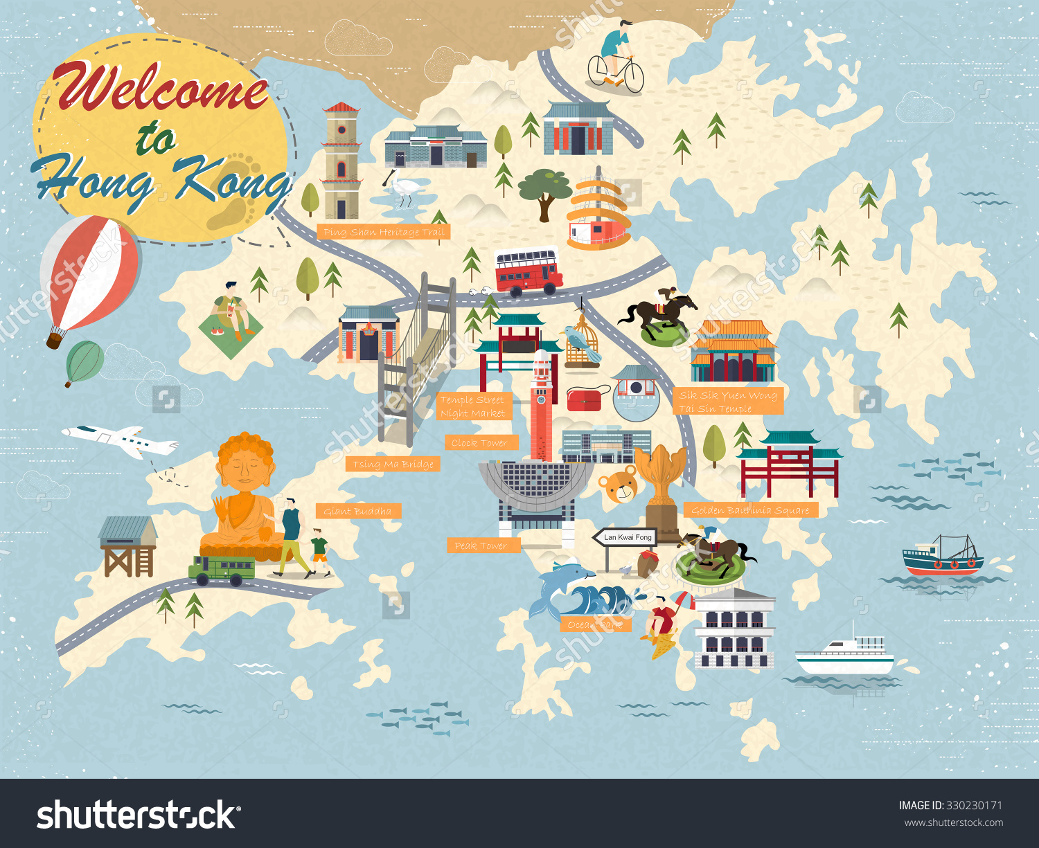 Stock Photo Attractive Hong Kong Travel Map With Attractions Icons In Flat Design