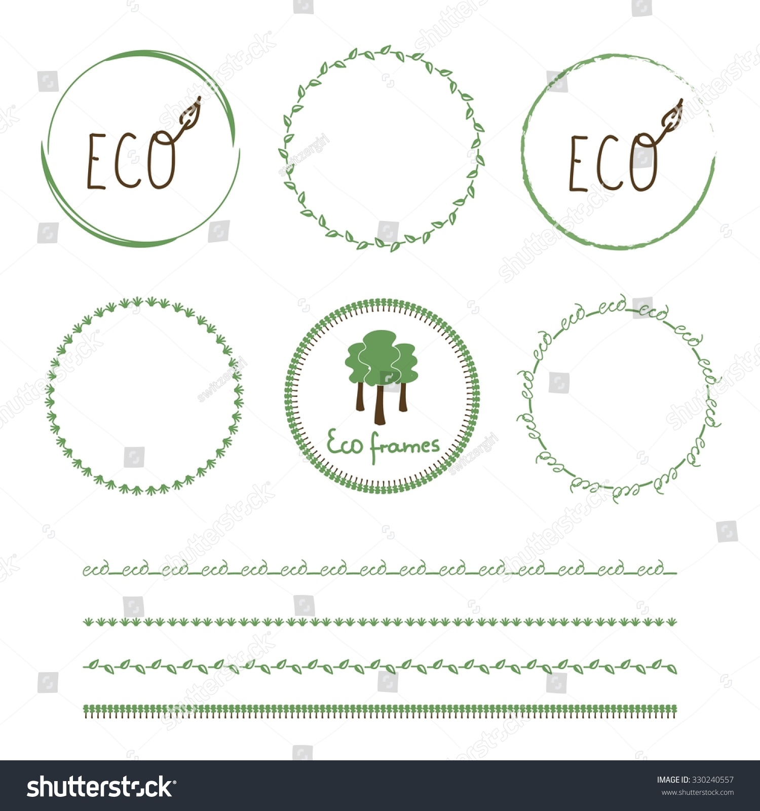 Eco Frames Made Vector Green Brushes Stock Vector 330240557 ...