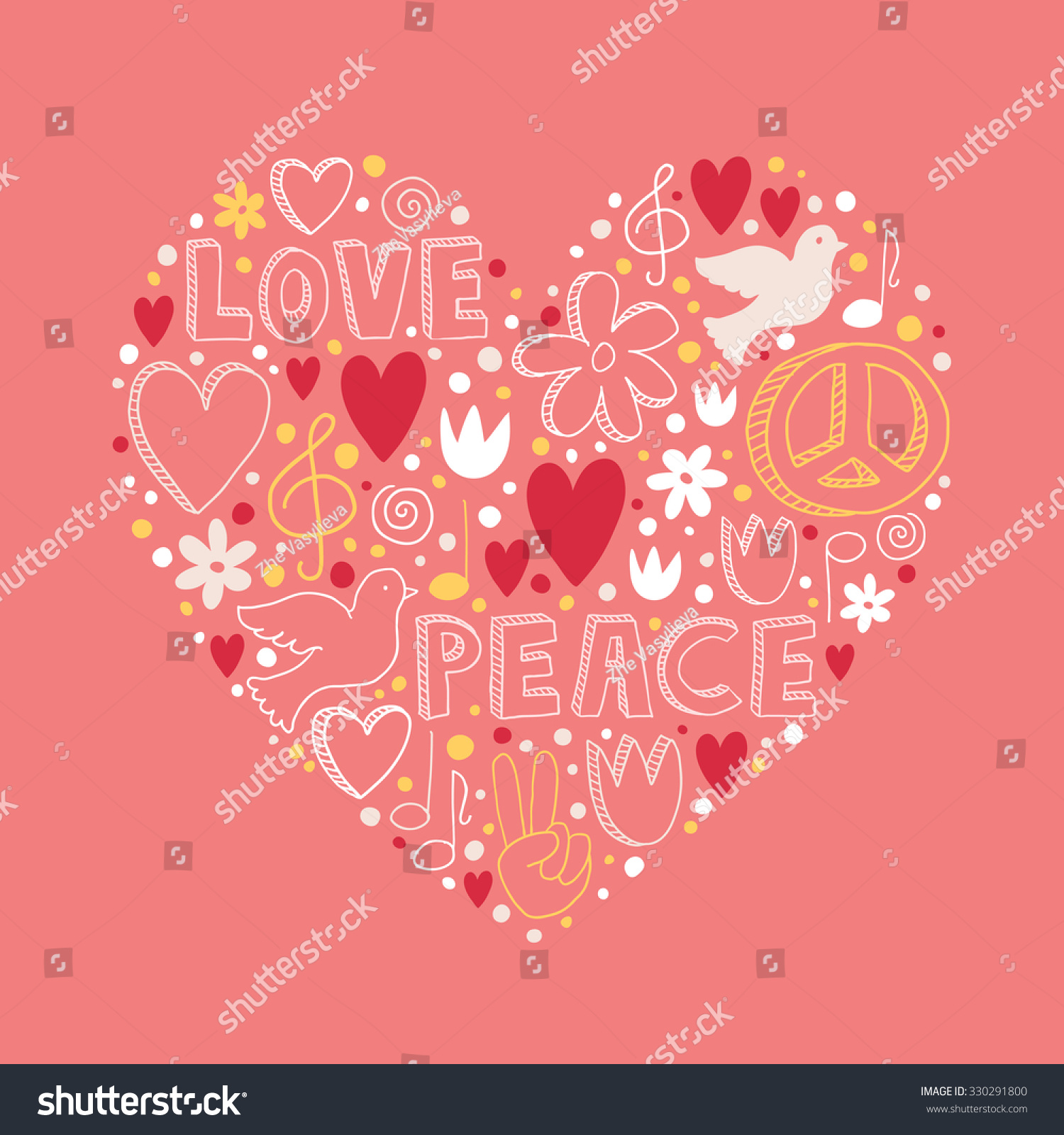 Vector doodle symbols on love peace stock vector 330291800 vector doodle symbols on love and peace theme in heart shape on light pink background biocorpaavc