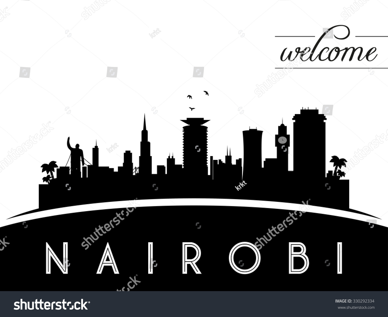 Royalty-free Nairobi Kenya skyline silhouette, black