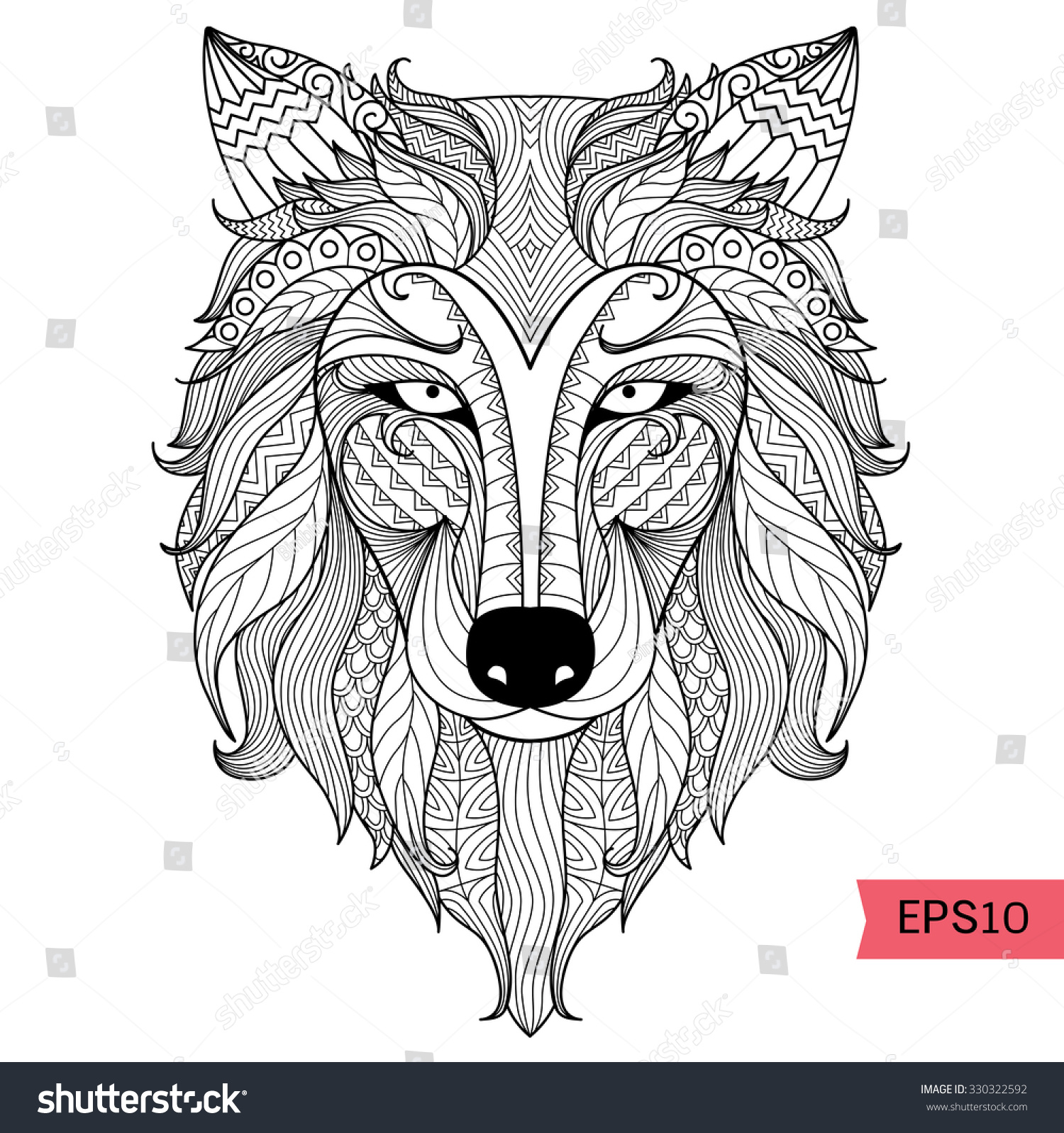 Detail Zentangle Wolf Coloring Pagetattoo T Stock Vector (Royalty ...