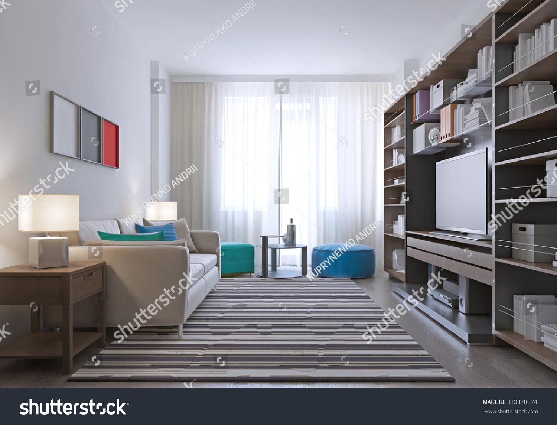 Contemporary Lounge Room Design Massive Wall Stock Illustration ...