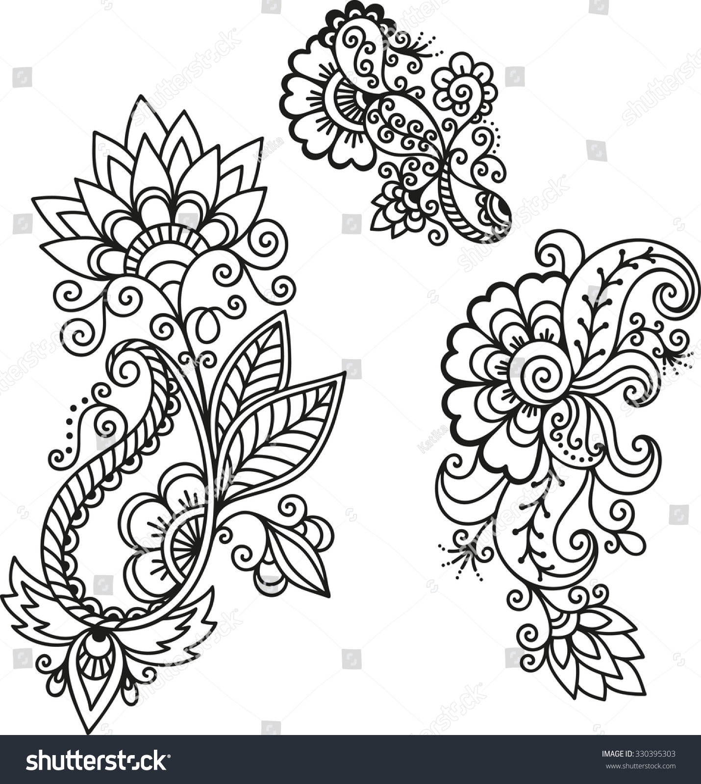Henna Tattoo Vector: Henna Tattoo Flower Templatemehndi Stock Vector 330395303