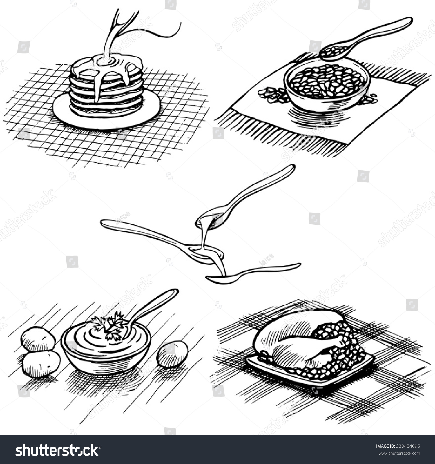 Instant Oatmeal Cuisine Vector Hand Drawn Stock Vector Royalty Free