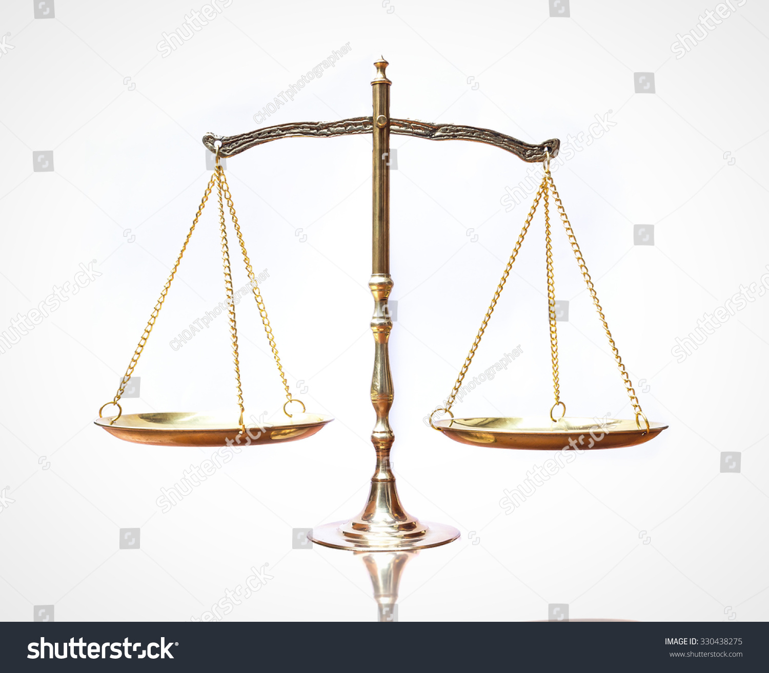Scales Of Justice The Symbol Of Law Isolated White Background