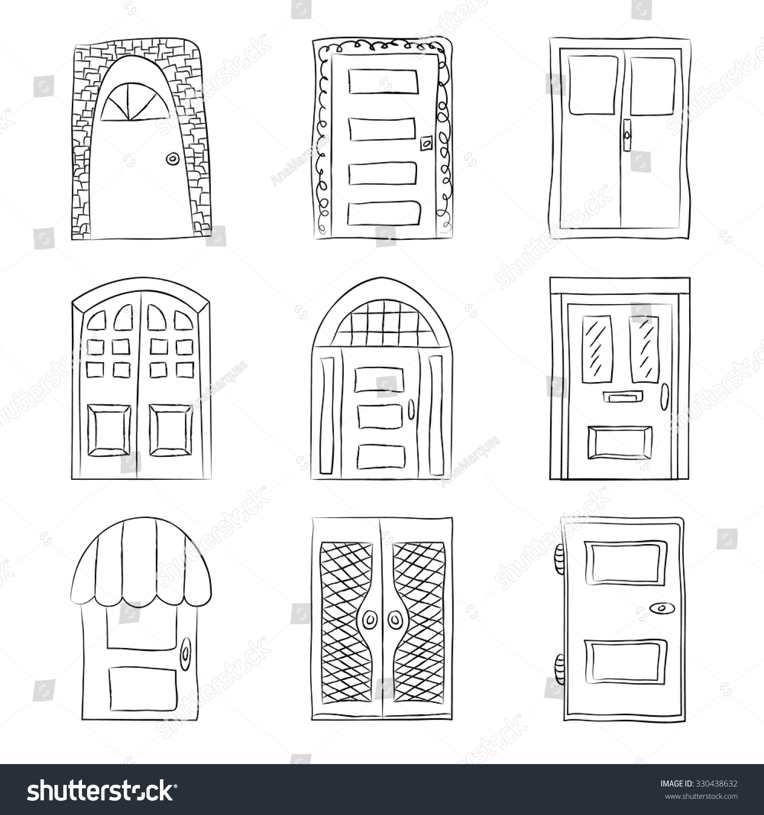 Simple door drawing - Collection Of Old Door Icon Isolated Illustration Vector Set With Close Up Wooden Door