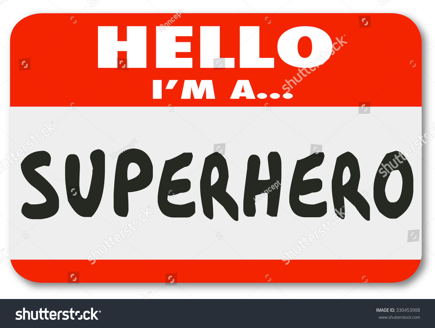 Hello Superhero Words On Name Tag Stockillustration 330453908 ...
