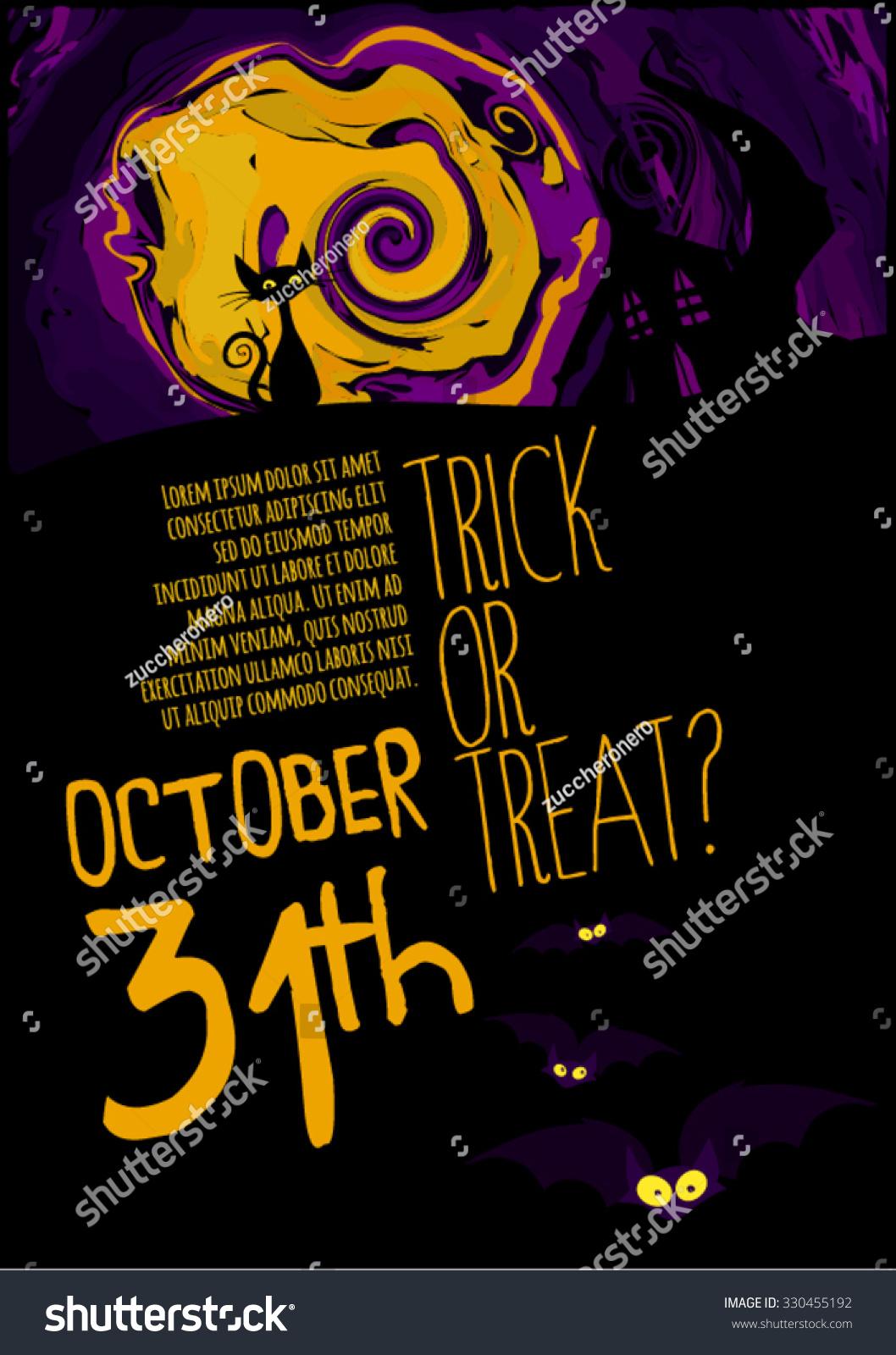 Halloween Party Flyer Halloween Poster Layout Stock Vector ...