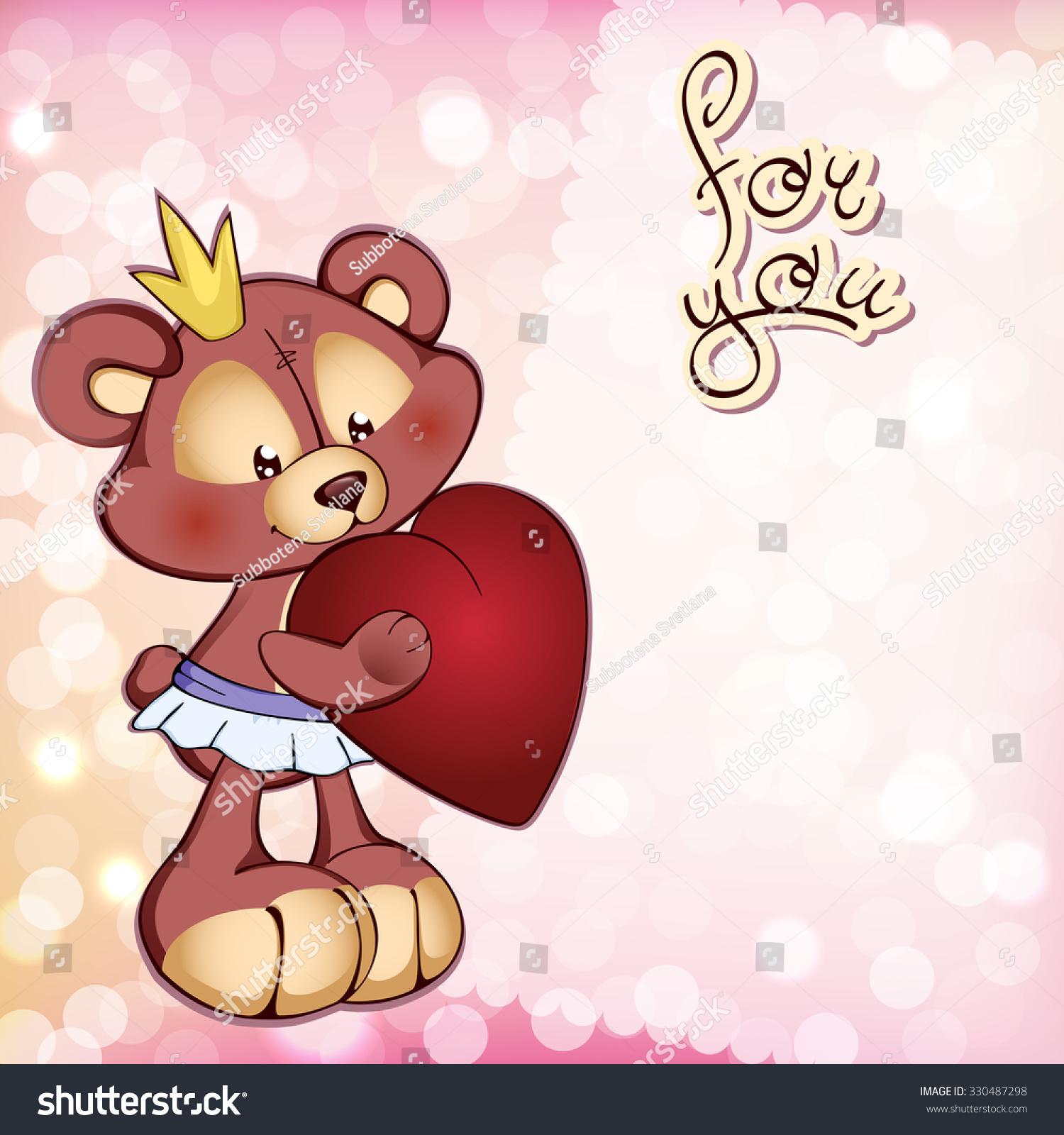 Fun Medvejonok Stands Large Red Heart Stock Vector 330487298