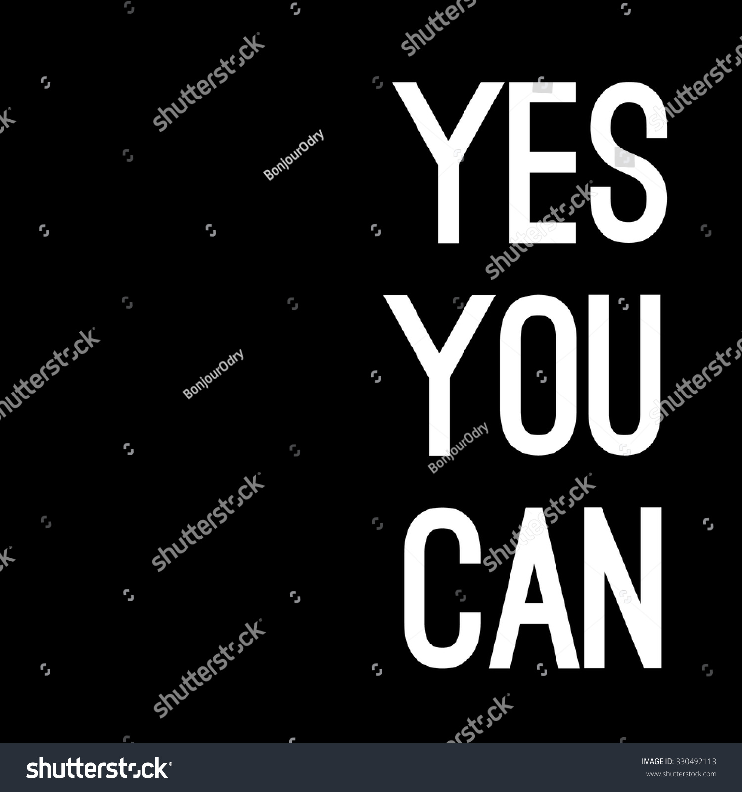 Yes You Can Motivational Background Quote Stock Vector Royalty Free