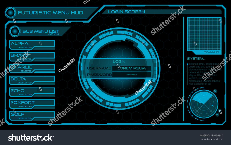Sci Fi Computer Interface Futuristic Login &...