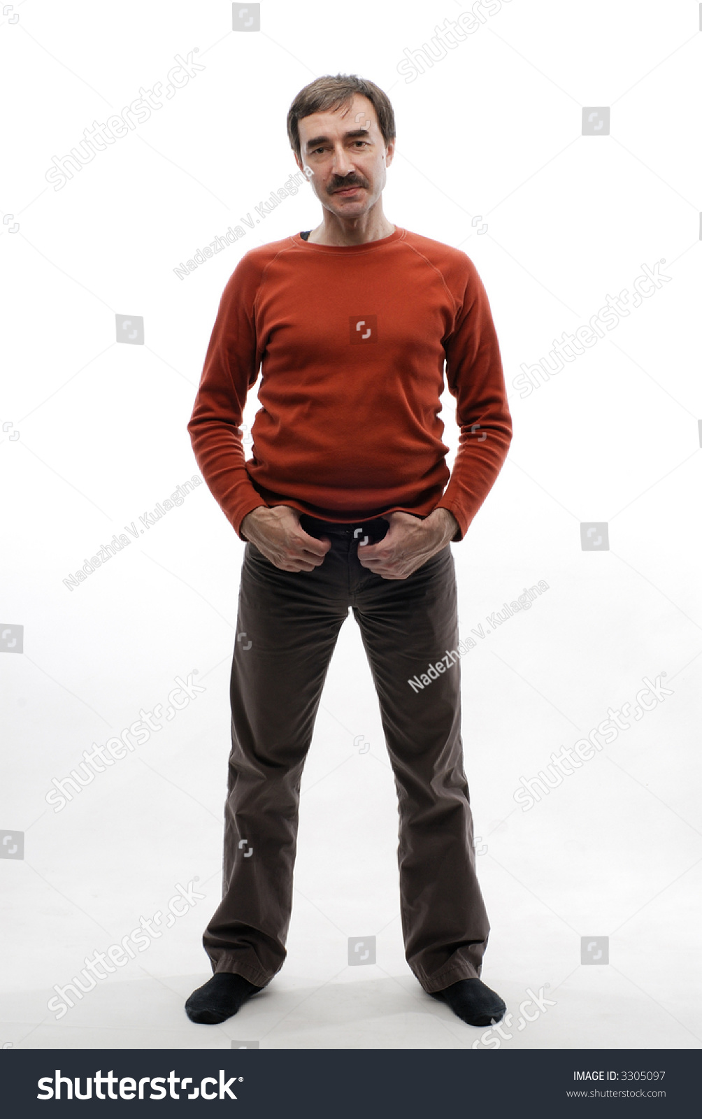Man Red Sweater Brown Pants No Stock Photo 3305097 - Shutterstock